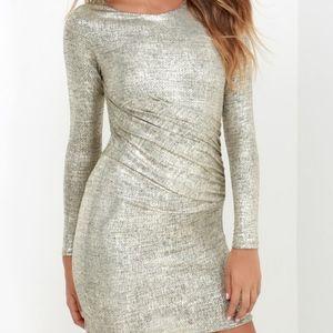 Gold Long Sleeve Bodycon Dress Glitter